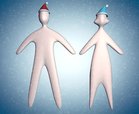 3d couple illustration in christmas santa hat full body on blue background with snowflakes Reklamní fotografie
