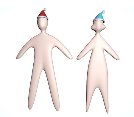 3d couple illustration in christmas santa hat full body on white background Reklamní fotografie