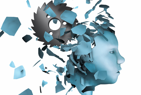 3d rendering illustration of mental stress disorder as human head falling apart isolated on white