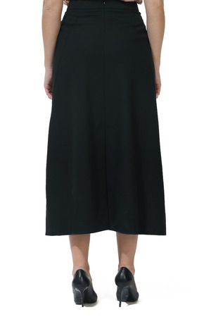 black official long skirt cut close up photo on model in hith heels isolated on white back view