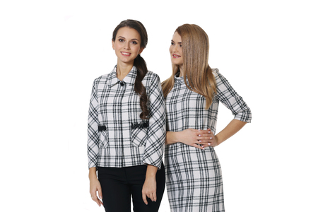two blond fashion model business woman in formal checked jacket and dress close up photo isolated on white