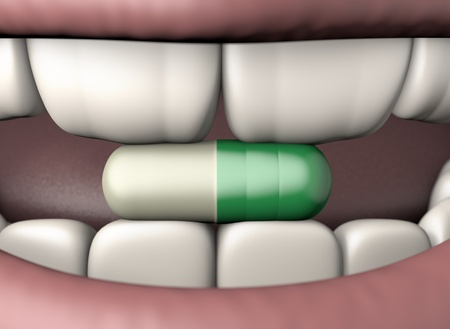 3d illustration antidepressant pill in human mouth with strong teeth isolated on white Foto de archivo - 118705751
