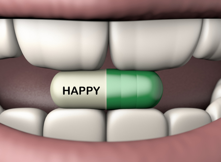 3d illustration antidepressant pill in human mouth with strong teeth isolated on white Foto de archivo - 118705752
