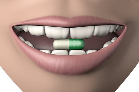 3d illustration antidepressant pill in human mouth with strong teeth isolated on white Foto de archivo - 118705753