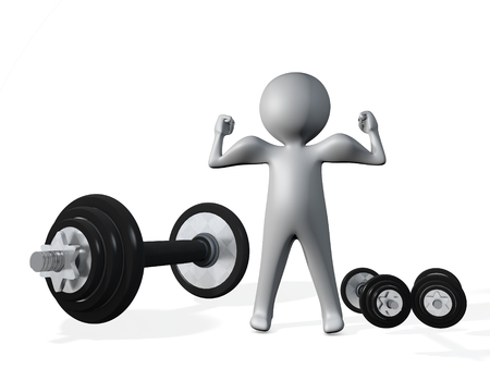3d illustration of man figure with biceps muscles and dumbells rod barbell isolated on white Foto de archivo - 118705758