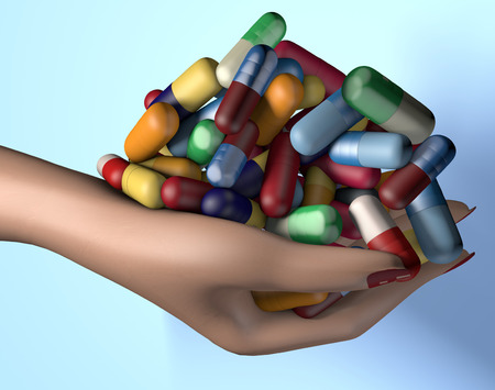 3d illustration of woman hand holding handful of drug medicine pills isolated on blue
