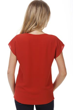 student young woman with model girl in summer red short sleeve blouse close up photo isolated on white back view