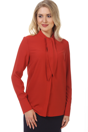 blond business woman in formal red official long sleeve blouse close up photo isolated on white