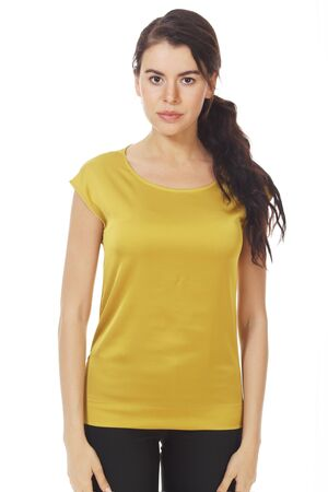 brunette business woman in yellow official formal blouse with ruches close up photo isolated on white Banco de Imagens - 127677895