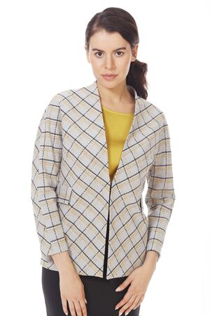 brunette business woman in official formal checkered jacket close up photo isolated on white