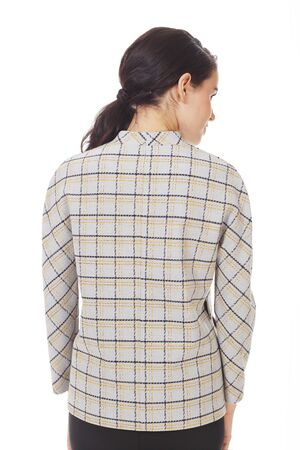 brunette business woman in official formal checkered jacket close up photo isolated on white Banco de Imagens - 127677899