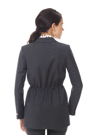 brunette business woman in official formal dark jacket close up photo isolated on white