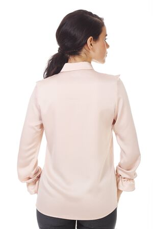 brunette business woman in pink official formal blouse with ruches close up photo isolated on white back view