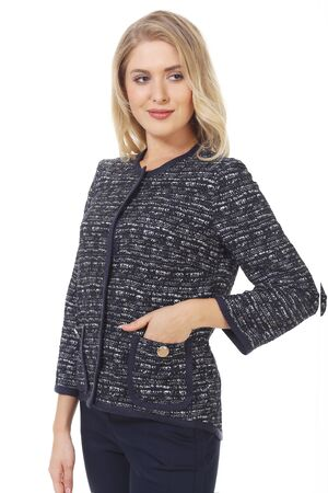 blond business woman in woolen checkered official formal jacket close up photo isolated on white