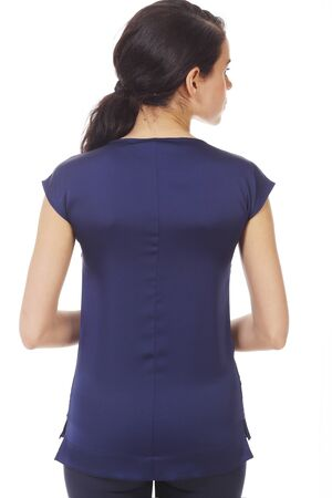 brunette business woman in blue sleeveless official formal blouse with ruches close up photo isolated on white back view Banco de Imagens - 127679219