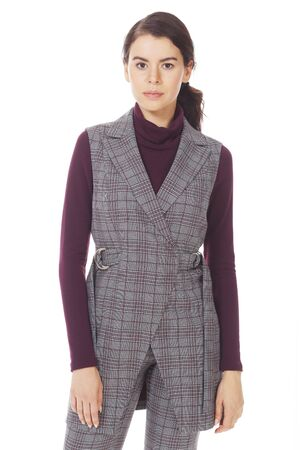 woolen official vest with belt on model close up photo isolated on white