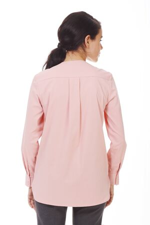 brunette business woman in pink official formal blouse with ruches close up photo isolated on white Banco de Imagens - 127679363