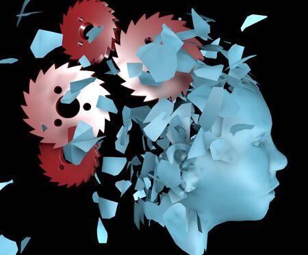 3 d illustration of broken human head and moving gear wheels cogwheels as a symbol of mental disorder Reklamní fotografie