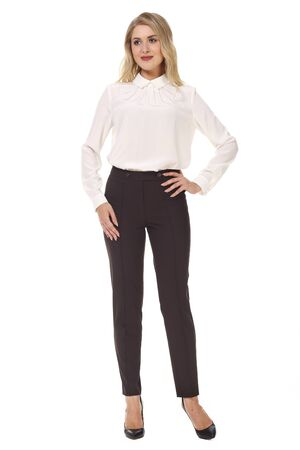 blond business woman with long hair in formal white blouse and trousers high heels stiletto shoes full body photo isolated on white
