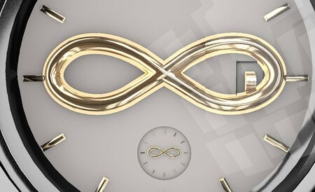 3d illustration of mechanical expensive wristwatch with infinity sign close up isolated on white
