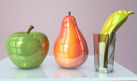 3d illustration of apple banana in glass and pear creative still life on glass table in pink room with day light imitation and clock reflection