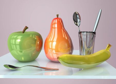3d illustration of apple banana in glass and pear creative still life on glass table with spoon in pink room with day light imitation and clock reflection Stockfoto