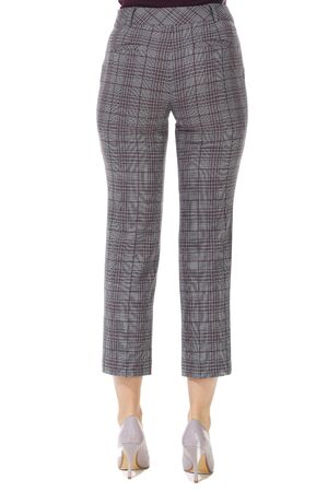 formal checked trousers with stripes on model legs with white stiletto heels Stockfoto