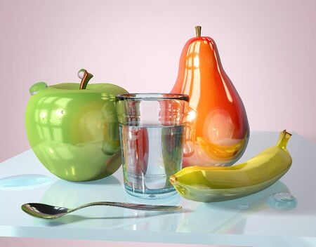 3d illustration of green apple pear banana spoon and glass with water creative still life on glass table in pink room with day light imitation and clock reflection