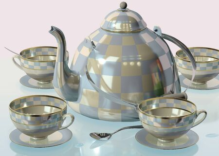 3d illustration of china checkered teakettle and cups on glass table in pink room with day light imitation and clock reflection Stockfoto