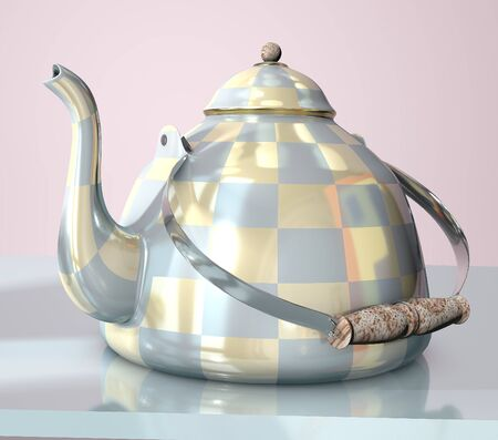 3d illustration of china checkered teakettle on glass table in pink room with day light imitation and clock reflection