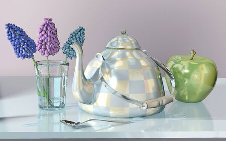 3d illustration of china checkered teakettle glass green apple blue hyacinth flower on glass table in pink room with day light imitation and clock reflection