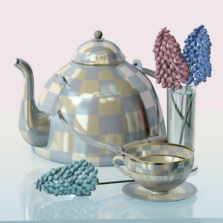 3d illustration of china checkered teakettle porcelain tea cup wineglass blue hyacinth flower on glass table in pink kitchen with day light imitation Фото со стока