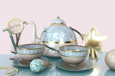 3d illustration of merry christmas card with christmas tree toys tea cup teakettle candy ice cream close up still life on spruce green tree background Imagens
