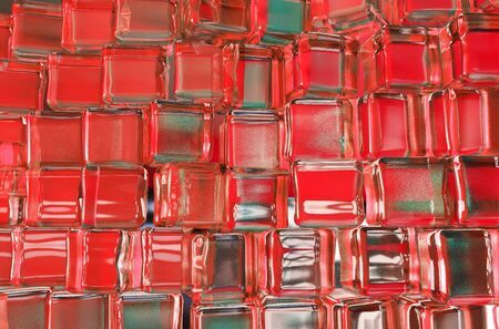 3d illustration of red ice surface texture with window and light reflexion background