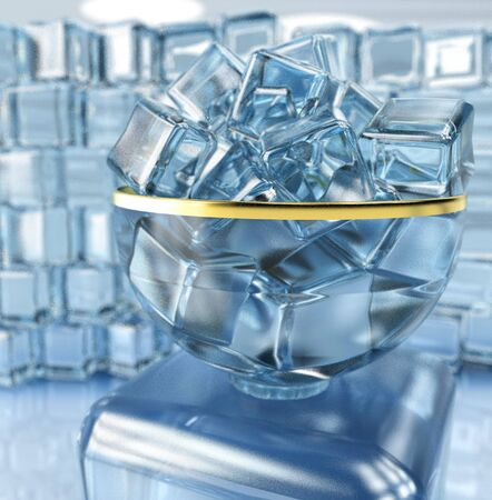 3d illustration of ice cube in bow vase on ice wall background with window and light reflexion background Stock Photo
