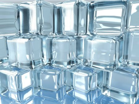 3d illustration of ice cubes wall surface texture with window and light reflexion background