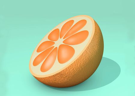 3d illustration of half cut orange on blue background close up Banco de Imagens