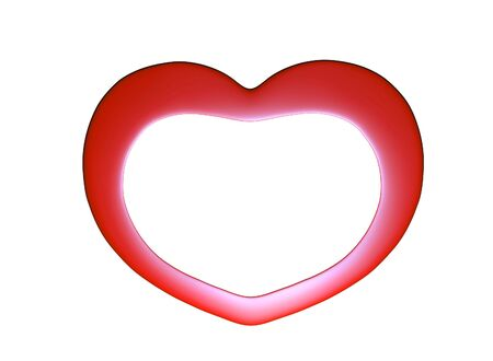 3d be my valentine card illustration of red hearts with copy space photo frame isolated on white close up