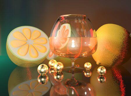 3d illustration of lemon lime half cognac glass and gold balls art still life 写真素材