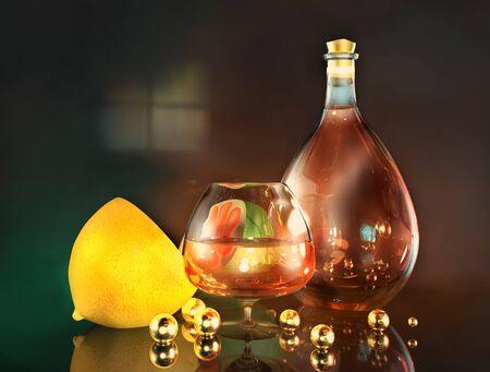 3d illustration of lemon lime half cognac glass bottle and gold balls art still life in dark room
