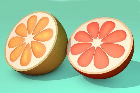 3d illustration of half cut orange lemon on blue background close up 写真素材
