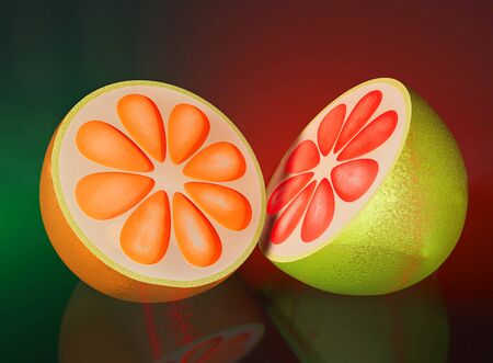 3d illustration of half cut orange lime on blue background close up