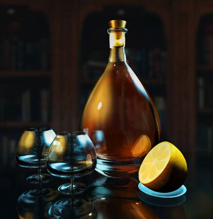3d render illustration of cognac glass and bottle low key photo on blue backgroun