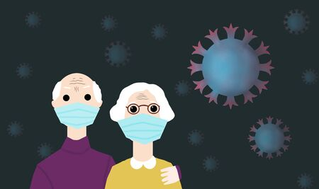 illustration of family grandma and grandpa old in respiratory mask close up with coronavirus on black background 免版税图像
