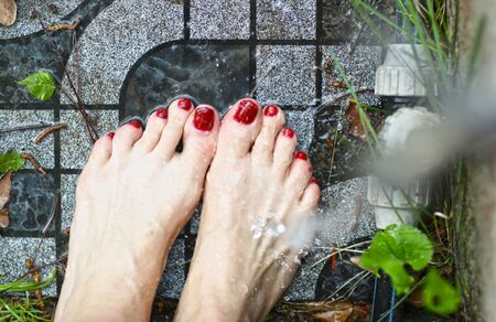 woman feet with red nail enamel washing with water pate on garden tale background Stock Photo