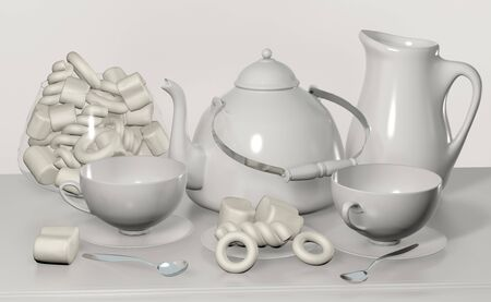 3d illustration of tea set with kettle cup and candy on the beside table white still life