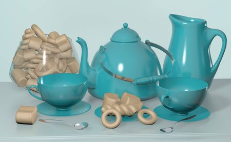 3d illustration of tea set with blue kettle cup and candy on the beside table still life with copy space Zdjęcie Seryjne