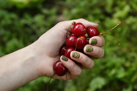 healthy breakfast - handful of sweet cherry on green grass background
