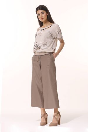 Indian business woman executive posing in official culottes trousers and printed blouse full body photo Banque d'images
