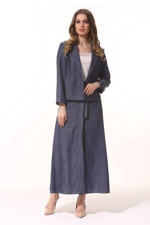 business woman executive posing in denim jeans suit jacket and long skirt